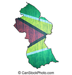 guyana territory with flag - map with flag of guyana with...