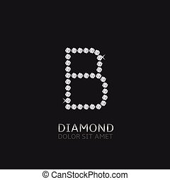 Letter B with gemstones