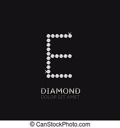 Letter E with gemstones