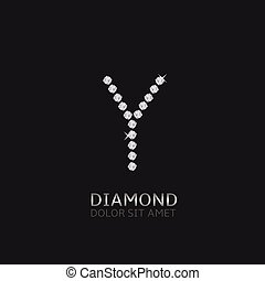 Letter Y with gemstones