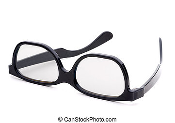 Black eye-glasses with tinted lenses on a white background