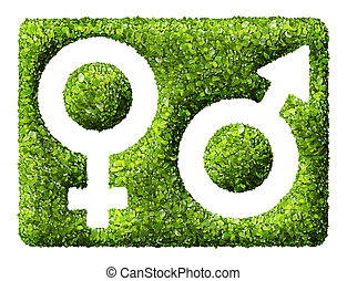 Gender symbols from the green grass. Isolated on white