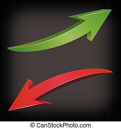 Red and green arrows