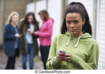 Teenage Girl Being Bullied By text Message
