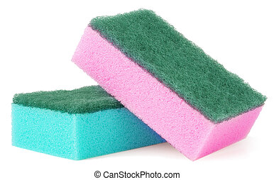 colorful sponges for washing dishes on a white background.