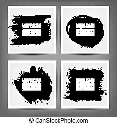 set painted charcoal banners - Collection of grungy charcoal...
