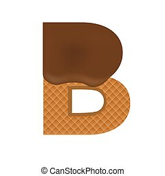 Wafer B letter with Melted Milk Chocolate Vector...