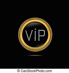 Golden VIP badge with diamonds. Vector illustration