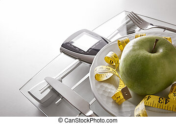 Concept healthy food on table with apple elevated view -...