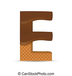 Wafer E letter with Melted Milk Chocolate Vector...