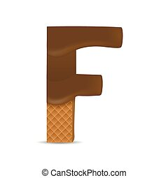 Wafer F letter with Melted Milk Chocolate Vector...