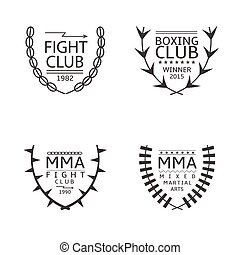 Fight club logo set - Mixed martial arts fighting logo set...