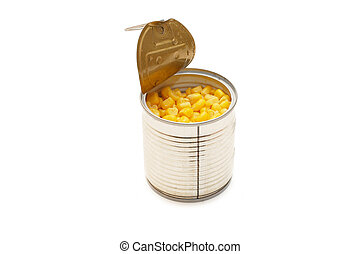 Tinned corn in a tin isolated