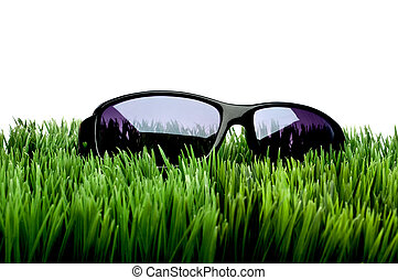 Black framed sunglasses on grass against white
