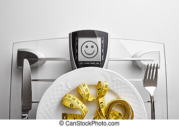 Concept healthy food on table with happy face message...