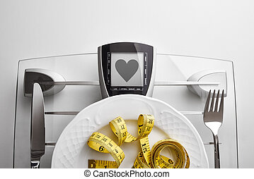 Concept healthy food on table with healthy heart message...