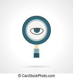 Spy flat color vector icon - Magnifying glass with eye...
