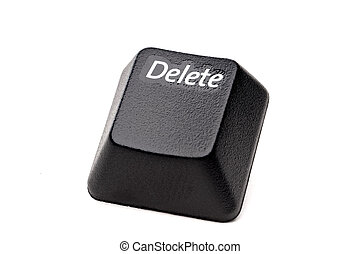 A horizontal closeup of a Delete button from a computer...