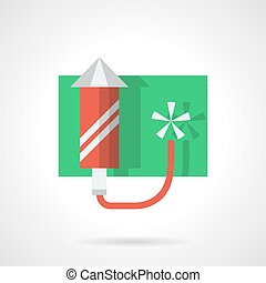 Festive fireworks flat color vector icon - Red fireworks...