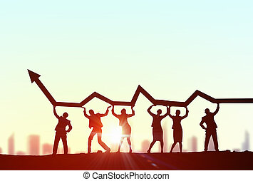 Cooperate for successful work - Business people lifting...