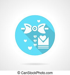 Round blue wedding MC flat vector icon - White silhouette...
