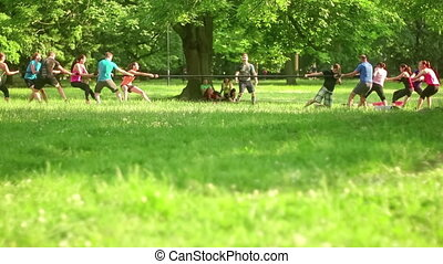Public Park Workout - Team game excercise, people pulling...