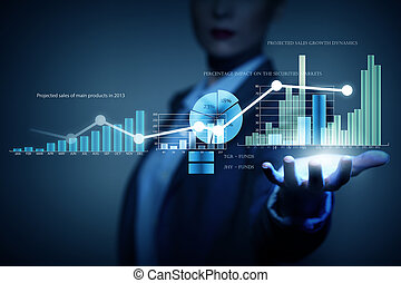 Average sales report - Close view of businesswoman touching...