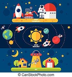 Space Exploration 3 Flat banners set - Space exploration 3...
