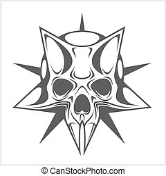 Cyber Skull in Star isolated on white