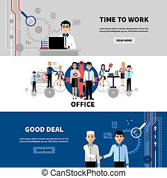 Business People 3 Flat Banners Set
