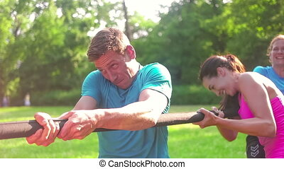 Public Park Workout - Close up of a man during team games,...