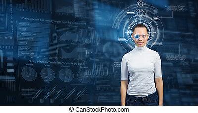 Futuristic girl in virtual room