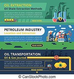 Oil industry banner set - Oil industry horizontal banner set...