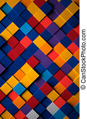 3D Bright Multicolored Cubes Background - Creative 3D bright...