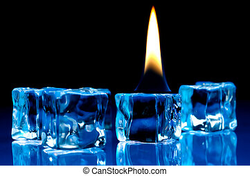 flame burning on blue ice cubes - Hot flame burning on cold...