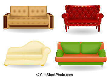 set icons furniture sofa illustration isolated on white...