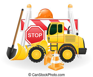 road works concept icons illustration isolated on white...