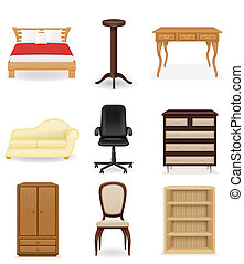 set icons furniture illustration isolated on white...