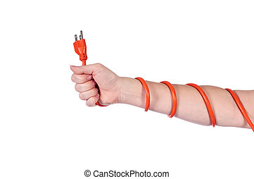 An arm wrapped in an orage electrical extension cord