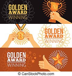 Awards Banners Set - Awards horizontal banners set with cup...