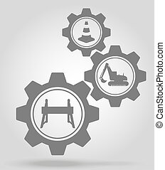road works gear mechanism concept illustration isolated on...