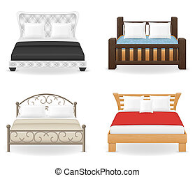 set icons furniture double bed illustration isolated on...