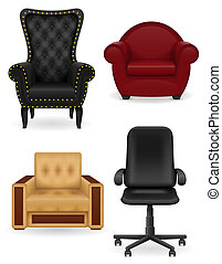 set icons armchair furniture illustration isolated on white...