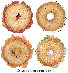 Collection of bagels with salami ham cream cheese, salmon...