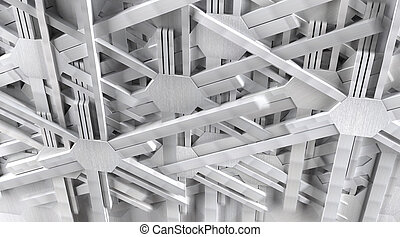 Metal Machine Parts in Motion as Background - Aluminum...