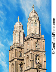 grossmuenster towers in zurich - the twin towers of the...