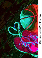 Basketball in heart - Abstract image of sneakers with lace...