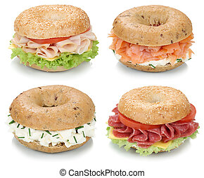 Collection of bagels with cream cheese, salmon and ham for...