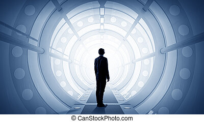 Man in futuristic interior - Businessman standing in virtual...