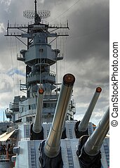 Battleship Missouri - 16 inch guns o the battleship U.S.S....